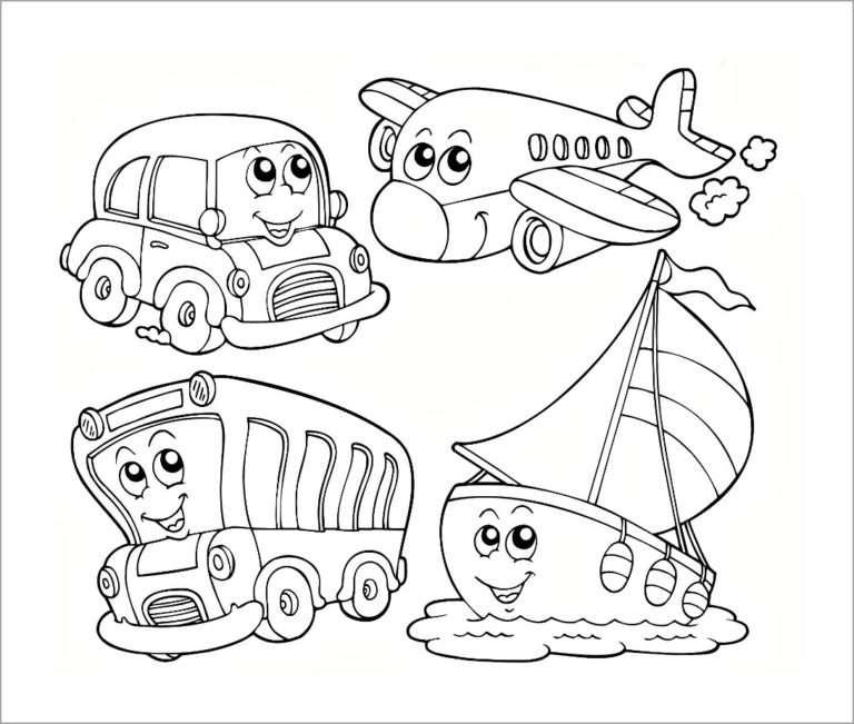 Bộ tranh tô màu phương tiện giao thông cho bé