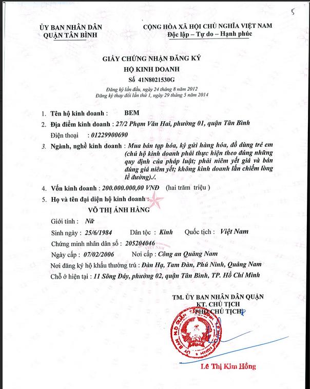 giấy phép đăng ký kinh doanh