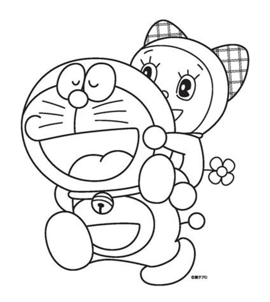hình tô màu mèo máy doremon