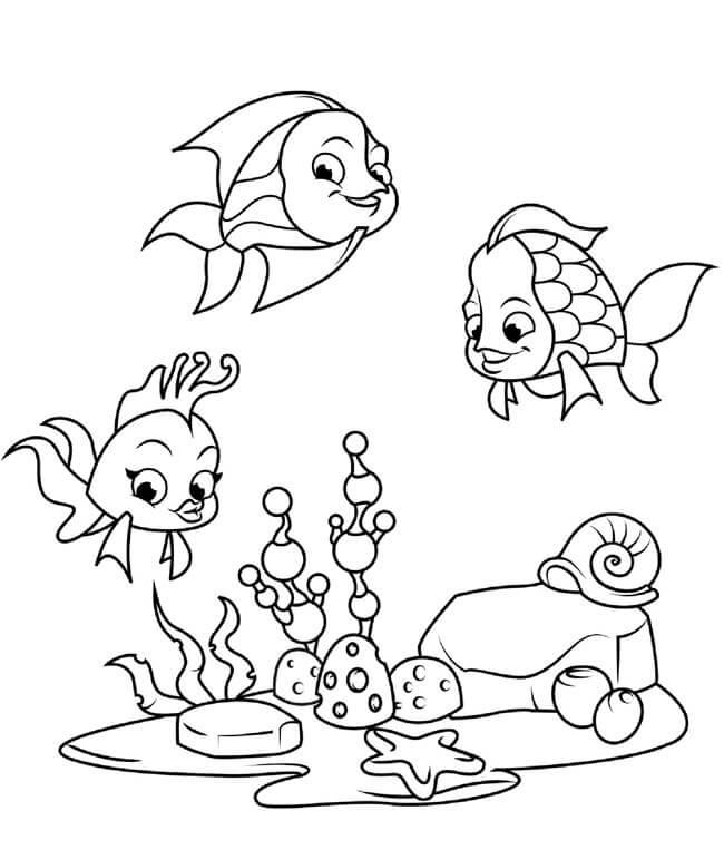 tranh tô màu cho bé những chú cá