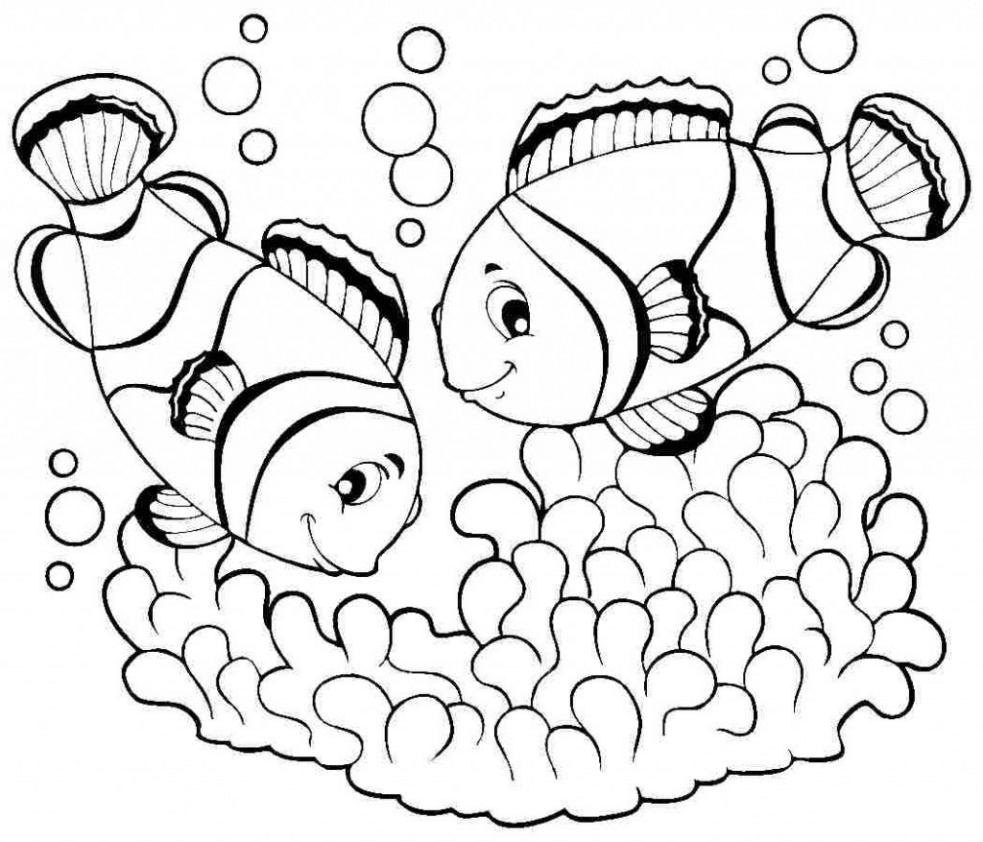 tranh tô màu con cá vàng trong bể nước cho bé