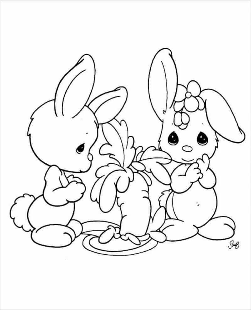 hình tô màu con thỏ trắng cho bé