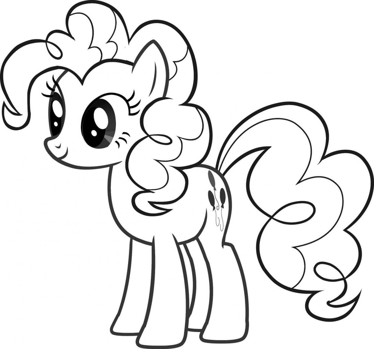 hình cho bé tập tô ngựa pony hồng